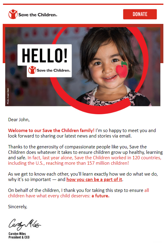 save the children welcome email series