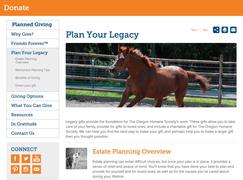oregon humane society legacy giving landing page example