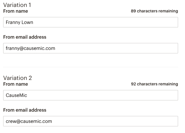 causemic a/b testing sender