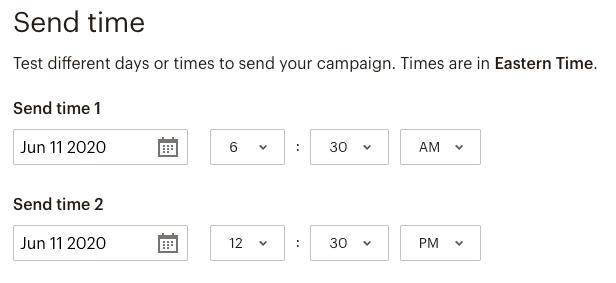 a/b testing send time