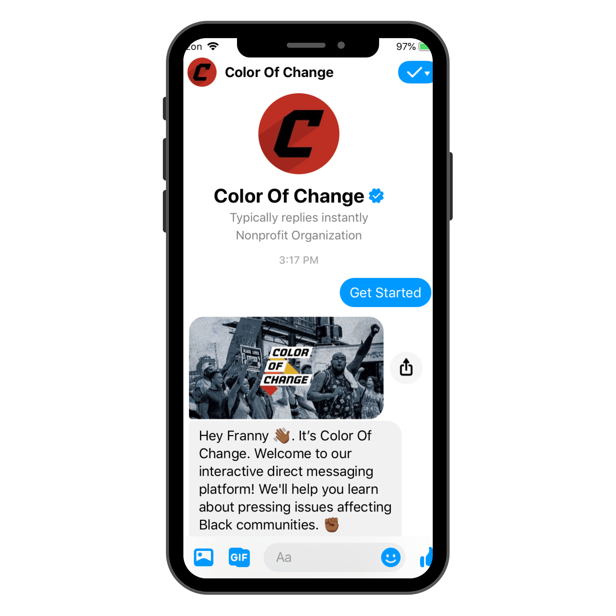 color of change facebook chatbot example